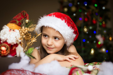 Girl looking at santa claus