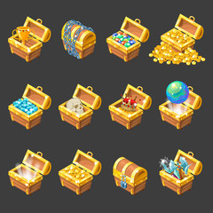 Treasure Chests Isometric Cartoon Set