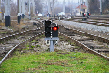 Red semaphore signal on the railway