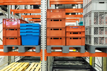 plastic containers on the shelves