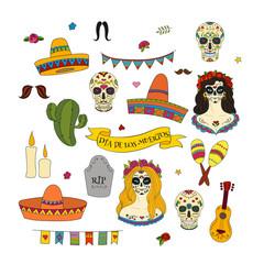 Collection of doodle hand drawn vector elements for Dia de los Muertos