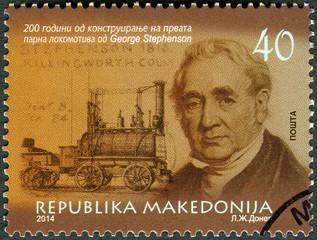 MACEDONIA - 2014: shows George Stephenson (1781-1848), engineer