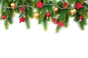 Christmas border with trees, balls, stars and other ornaments, isolated on white