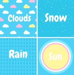 Set of seamless patterns. Snow, rain, clouds, sun