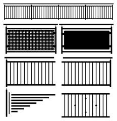 Zaun Geländer Silhouette schwarz isoliert