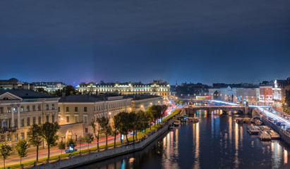 Fontanka river, Anichkov Bridge, St Petersburg, Russia