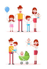 Spending Time in Family. Isolated Flat Vector Illustration on White Background.