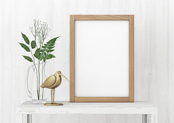 Vertical interior poster mock-up with empty wooden frame and plants on white wall background. 3D rendering.