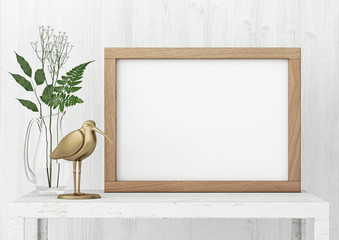 Horizontal interior poster mock-up with empty wooden frame and plants on white wall background. 3D rendering.