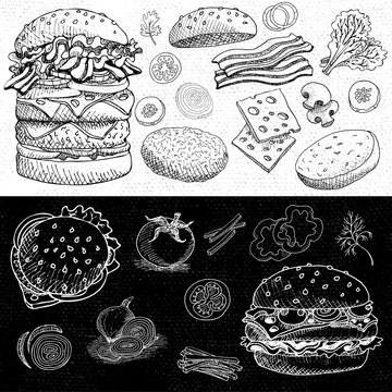 Set of chalk hand drawn, in sketch style, food and spices, black and white chalkboard background. Fast food Hamburger, ingredient, mushrooms, tomato, pepper, onion, bacon, salad