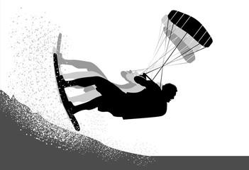 Kitesurfer action silhouette
