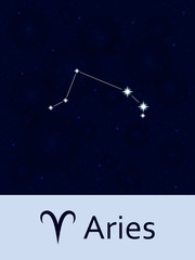 Zodiac sign Aries. Horoscope constellation star. Abstract space night sky background with stars and bokeh at the back. Vector illustration. Good for mobile applications, astrology, science template.