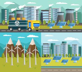 Ecology Orthogonal Banners Set