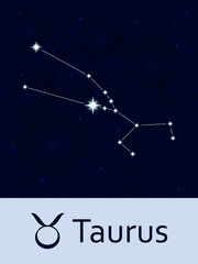 Zodiac sign Taurus. Horoscope constellation star. Abstract space night sky background with stars and bokeh at the back. Vector illustration. Good for mobile applications, astrology, science template.