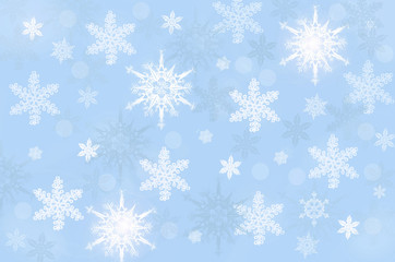 Снежинки на голубом фоне.