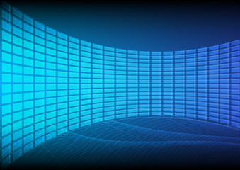 Abstract information and technology background that can used for business presentation. The combination of data farm in curve design with light that provides empty space for title.