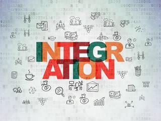 Finance concept: Integration on Digital Data Paper background