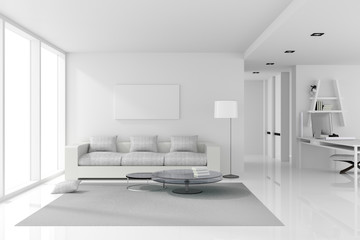3D rendering : illustration of White interior design of living room with white modern style furniture.shiny white floor.empty picture frame hanging on a wall.work place.clipping path included