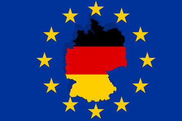 European country  Germany on Euro  background