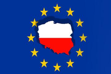 Poland Country on Euro Union flag background