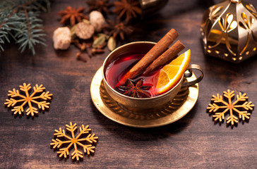 Christmas drink mulled wine with spices and spicy