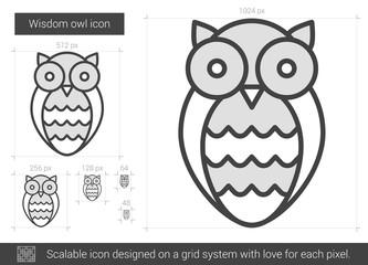 Wisdom owl line icon.