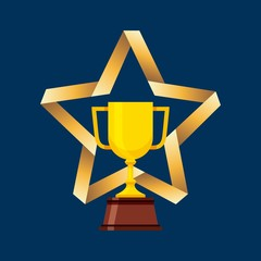 gold trophy icon over star shape and blue background. vector illustration