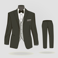 Formal suit, tuxedo with formal trousers for men