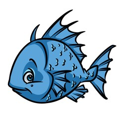 Blue Fish ruff cartoon illustration isolated image animal character