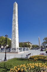 Obelisk of Theodosius (Egyptian Obelisk) near Blue Mosque (Sultanahmet camii) in the ancient Hippodrome on Istanbul, Turkey
