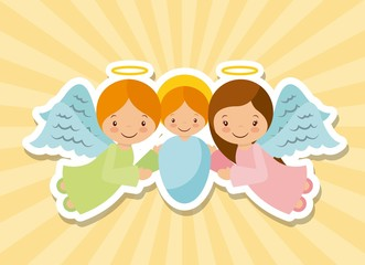 cartoon baby jesus with angels over yellow background. colorful design. vector illustration