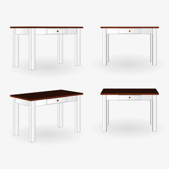 Tables wood isolated set. Desk 3d Side View. Vector illustration on a white background.