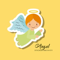 cartoon cute angel character over yellow background. sticker nativity design. vector illustration
