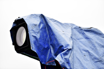 Television camera with blue rain cover