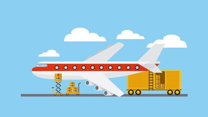 big airplane with cargo container over sky background. export and import design. vector illustration