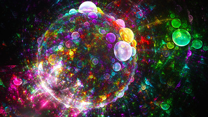 Spherical planet of bubbles. Wonderful world. 3D surreal illustration. Sacred geometry. Mysterious psychedelic relaxation pattern. Fractal abstract texture. Digital artwork graphic astrology magic