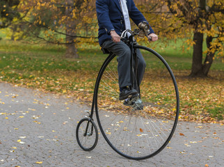 Penny-farthing bicycle in a park