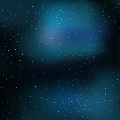 Vector illustration of cosmos with stars and nebula. Abstract colorful cosmos background.