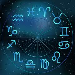 Vector illustration of zodiac circle on cosmic background with stars and nebula. Astrology horoscope signs.