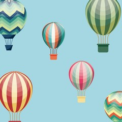 air balloons vehicles over blue background. colorful design. vector illustration