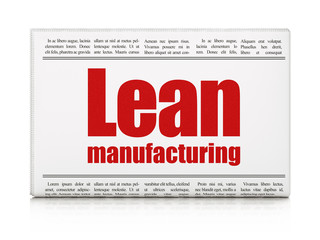 Manufacuring concept: newspaper headline Lean Manufacturing