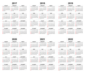 Simple editable vector calendars for year 2017 2018 2019 2020 2021 2022 sundays in red first