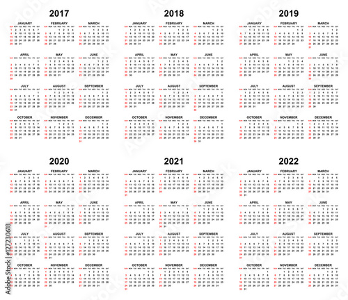 Simple Editable Vector Calendars For Year 2017 2018 2019 2020 2021
