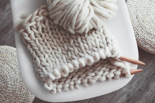 Winter knitting by the window