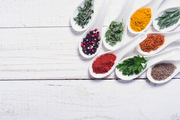 assortment of indian spices and herbs