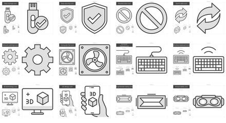 Gadgets line icon set.
