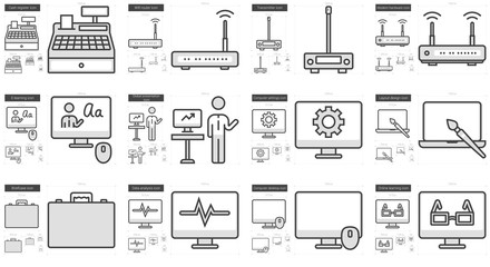Technology line icon set.