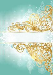 Christmas golden blue background