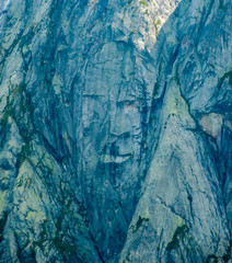 the face of the famous Albigna ghost in the mountains of the southern Swiss Alps