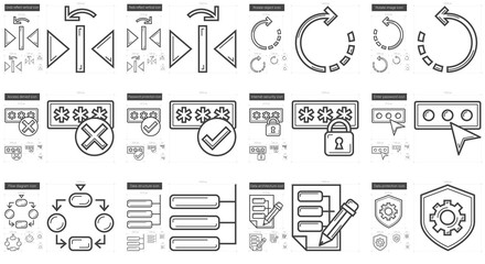 Content Edition line icon set.
